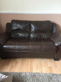 Brown leather sofas - 3 seater and 2 seater