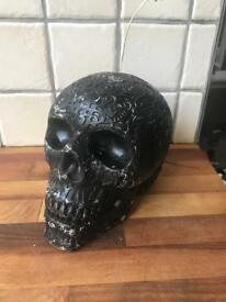 Ornamental Black Skull Candle