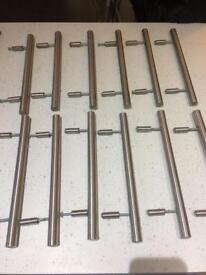 Brushed chrome kitchen door handles