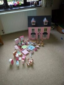 Pink Dolls House with Early Learniing Centre Rosebud Family & furniture sets