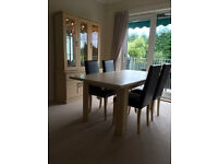 Extending Dining Table & 4 Leather Effect Chairs, Matching Display Cabinet - Limed Oak