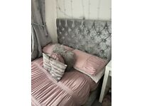 Small Double Crushed Velvet Ottoman Bed
