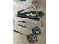 Selection of badminton racquets