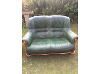 Two 2 Seater Leather Sofas Forest Green