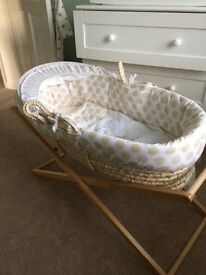Nearly new Moses basket and stand FOR SALE