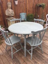Shabby Chic Wooden Farmhouse Table & 4 Spindle Back Chairs Refurb?
