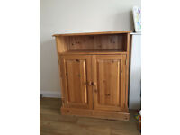3ft pine shelving unit (chest, dresser, bookcase, cupboard) with doors