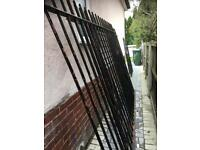 3 x Black metal heavy duty railing fences