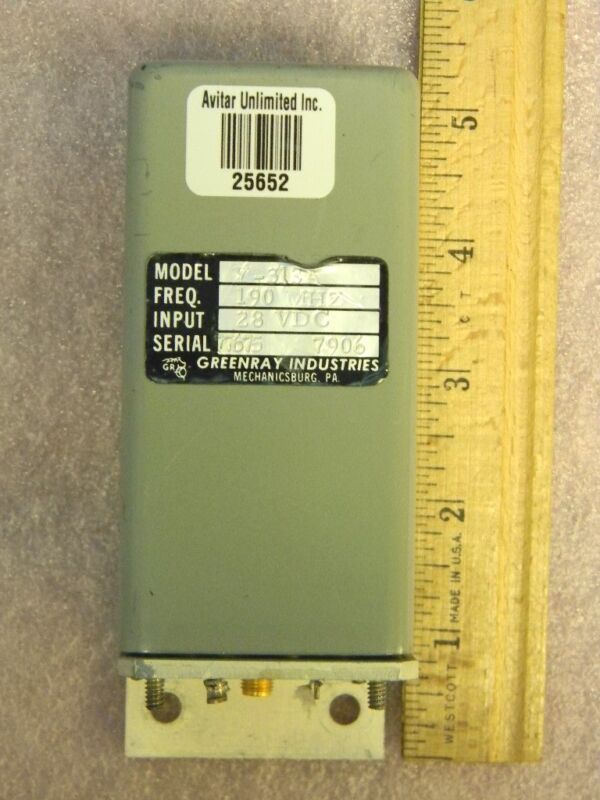 SMA RF Oscillator 190MHz 28VDC Greenray Industries Y-313A TESTED
