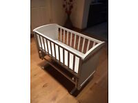Swinging Crib and mattress & moses basket with stand