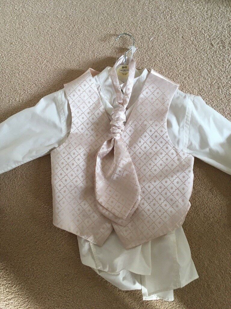 Page Boy Outfit Age 8 Years Cravat Shirt Trousers And Waistcoat Pale