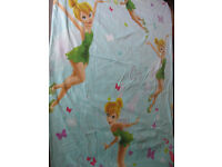 TINKERBELL SINGLE DUVET COVER +PILLOWCASE - BEAUTIFUL CONDITION COLOURFUL +FREE TINKERBELL CUSHION!