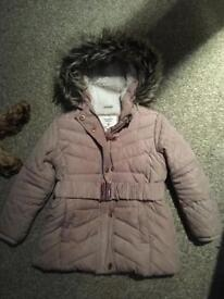 Girls coat faux fur hooded Parker size 2-3 years