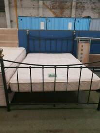 Double metal frame bed with mattress