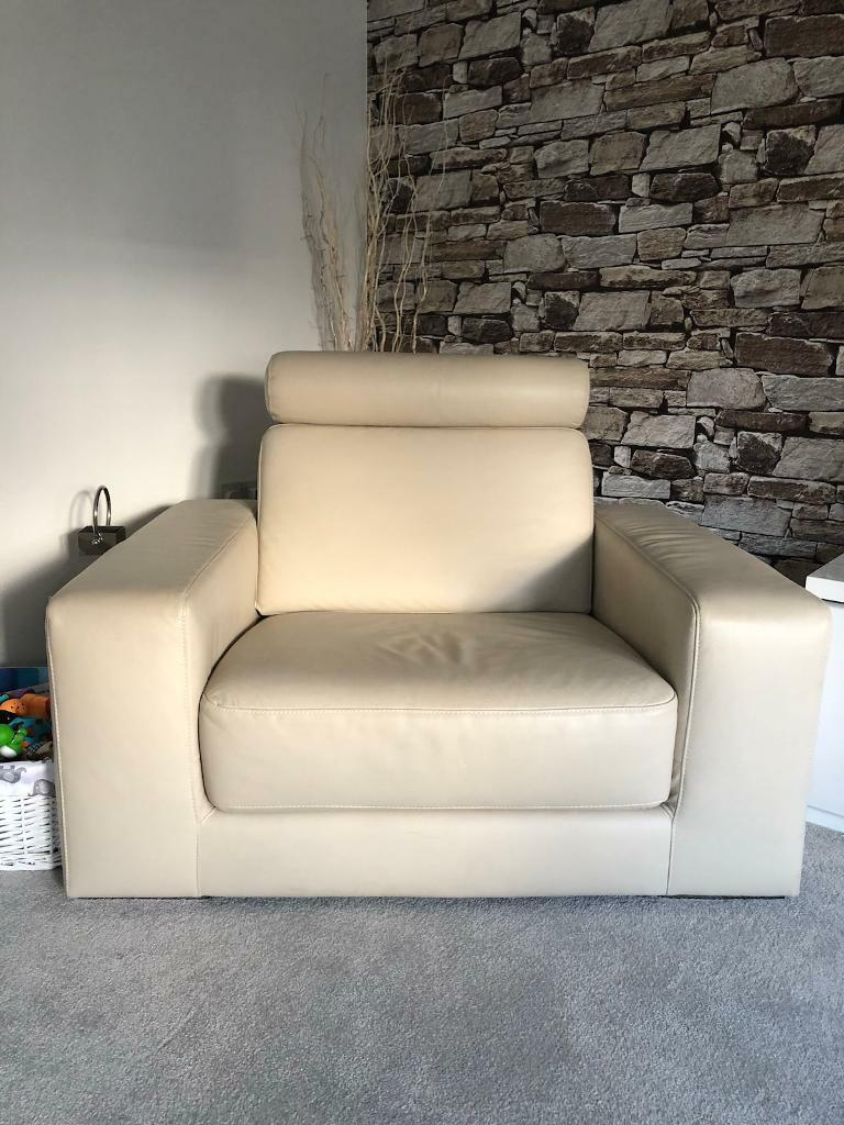 Cream Leather Couch and Chair
