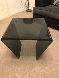 Black glass side table/lamp table