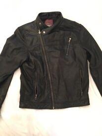 Men barneys leather coat. Medium