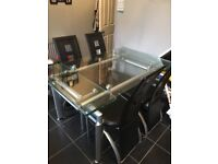 Glass dining table and 4/6 chairs