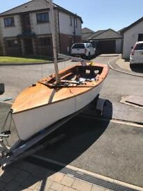 GP 14 Sail boat with 2 racing sails and road worth trailer