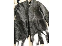 Two tone grey bobbled effect cardigan: lightweight jacket. Size uk10