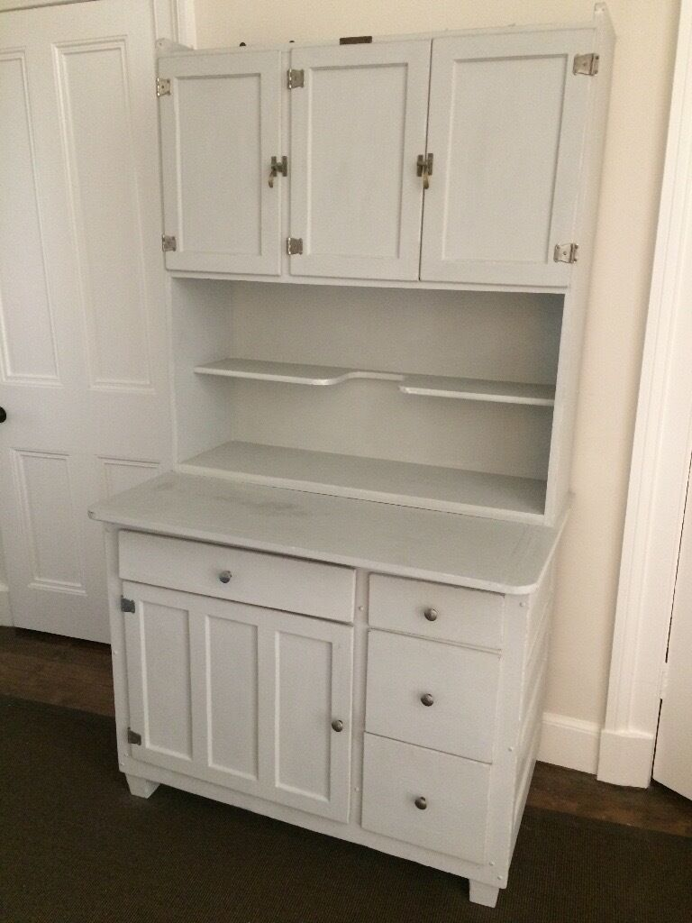 Vintage 'Easiwork' kitchen dresser painted in Annie Sloan chalk paint with distressed detail.