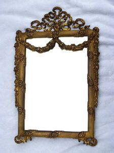 Large-Antique-French-Empire-Style-Gilt-Brass-Laurel-Leaf-Mirror-Picture-Frame