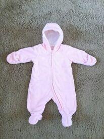 Lovely baby girl H&M pramsuit 56cm 1-2 months