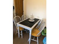 Upcycled dining table and 4 chairs