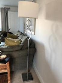 Tall white & Silver standing lamp