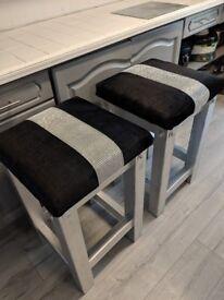 2 upcycled chunky wood bar stools