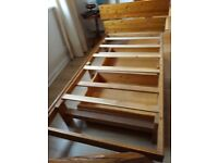 Pine single bed frame 2 drawer mattress included