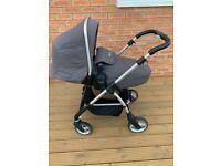 silver cross persuit travel system pram with car seat, Isofix base and accessories, from birth