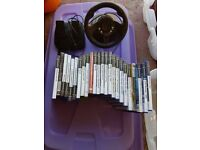 Ps2 ps 2 games and steering wheel and pedals