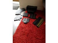 Various scalextric track pieces with powerbase