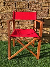 Set of four NEXT red directors chairs