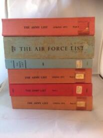 Collection of 6 army, navy and airforce lists 1972 - 1991