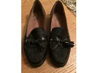 Real leather tasseled black loafers with hair front, size 4