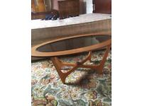 Retro teak glass coffee table. 1970s