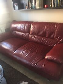 2x 3 seater red leather sofas