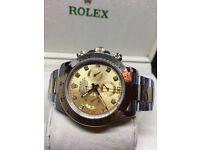 Rolex Daytona silver gold fully chronograph diamond cal 4130 movement audemars piguet Hublot Cartier
