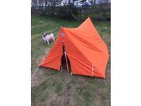 Pocket Tent 1950's Vintage Orange Canvas 2 Man Tent