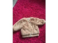 Girls next dusky pink fur jacket 3-6 months