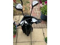 Teenagers golf clubs and bag
