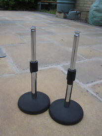 Two short microphone stands