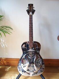 1995 Dobro model 33H brass body single cone roundneck resonator guitar
