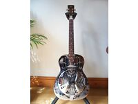 1995 Dobro model 33H brass body single cone roundneck resonator guitar