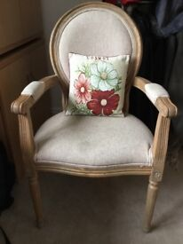 Carved Oak Occasional Chair with Cushion