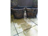 Petal topped solid oak tubs