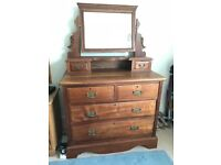 Antique Victoria 2 over 2 chest of drawers with dresser Mirror