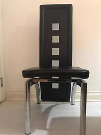 Black Artificial Leather Dining Chairs